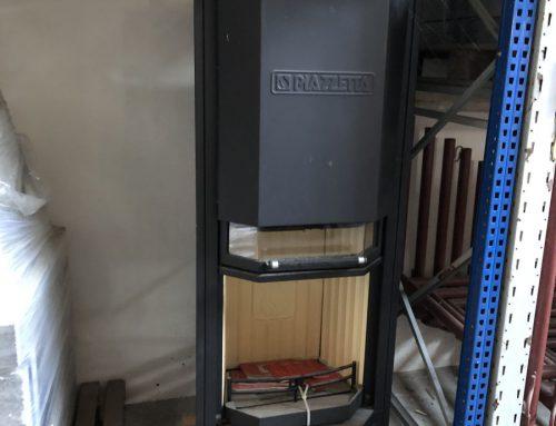 Stufa a legna PIAZZETTA in acciaio verniciato 7 kw caminetto h 94 cm made in italy